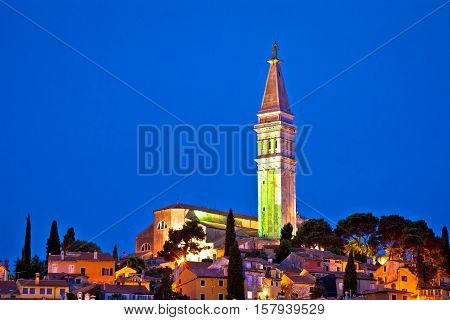 Town of Rovinj landmark evening view Istria Croatia