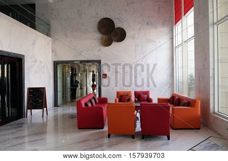 AGRA, INDIA - FEBRUARY 14 : Modern hotel lobby in Four Points by Sheraton Agra, Uttar Pradesh, India on February 14, 2016.