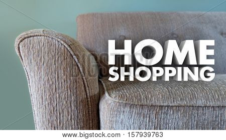 Home Shopping Furniture Store Words Couch 3d Illustration