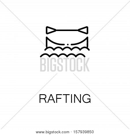 Rafting flat icon. Single high quality outline symbol of outdoor activity for web design or mobile app. Thin line signs of boat for design logo, visit card, etc. Outline pictogram of rafting