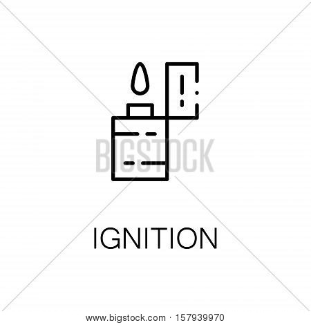 Ignition flat icon. Single high quality outline symbol of outdoor activity for web design or mobile app. Thin line signs of lighter for design logo, visit card, etc. Outline pictogram of ignition