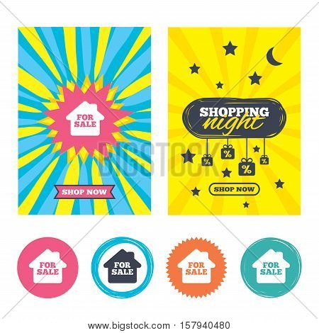 Sale banners, online shopping. For sale sign icon. Real estate selling. Shopping night. Vector