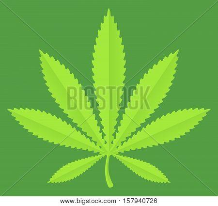 Marijuana leaf vector illustration pot leaf concept drawing.