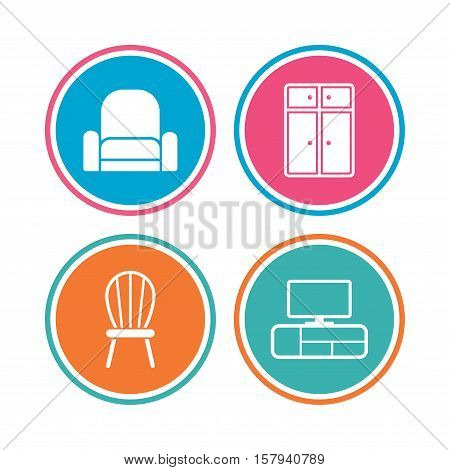 Furniture icons. Cupboard, chair and TV table signs. Modern armchair symbol. Colored circle buttons. Vector