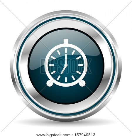Alarm clock vector icon. Chrome border round web button. Silver metallic pushbutton.