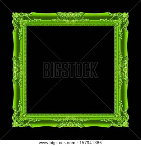 picture frame Wood carved Old isolated on a black background