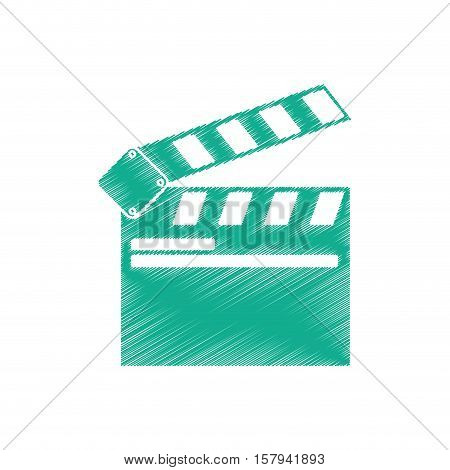 Clapboard icon. Cinema movie video film and media theme. Isolated design. Vector illustration