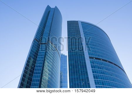 MOSCOW, RUSSIA - MAY 6, 2015: Modern skyscrapers of Moscow City business complex and sky. Moscow International Business Center Moscow City includes 20 futuristic buildings