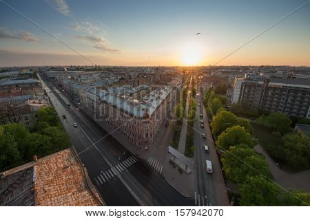 Beautiful old St. Petersburg during sunset at evening in Russia