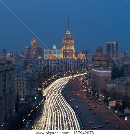 MOSCOW - APR 12, 2016: Kutuzovsky Prospect at evening. Kutuzovsky Avenue was constructed in 1957-1963, length - 8.3 km