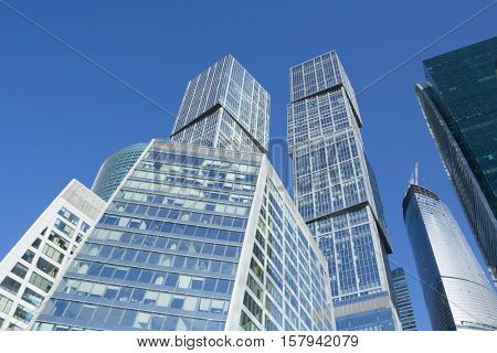 MOSCOW, RUSSIA - MAY 6, 2015: Moscow City business complex and sky. Moscow International Business Center Moscow City includes 20 futuristic buildings