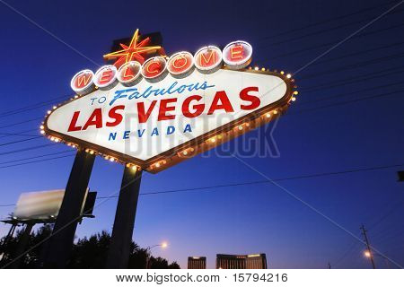 Welcome to Las Vegas sign at twilight poster