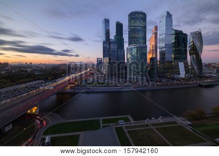 MOSCOW, RUSSIA - OCT 6, 2015: Skyscrapers of Moscow City business complex at evening. Moscow International Business Center Moscow City includes 20 futuristic buildings