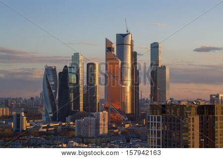 MOSCOW - APR 23, 2016: Moscow International Business Center at evening. East tower of complex Federation in height 374 m - highest skyscraper in Europe