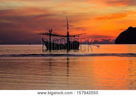 Fishing boats floating in the bay Prachuap Khiri Khan Thailand
