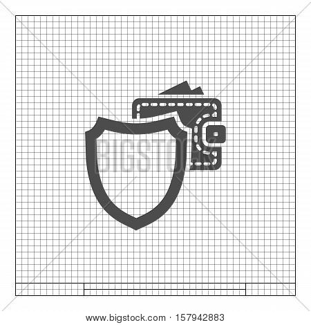 Wallet Protection Icon. Flat Design.
