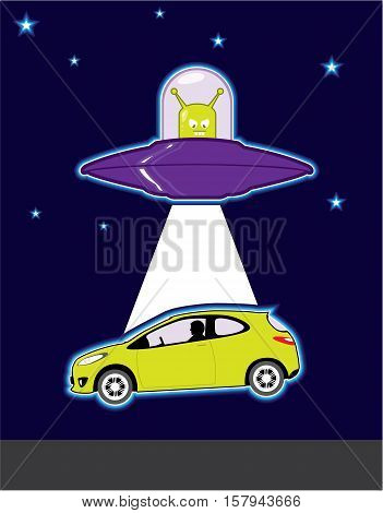 Car abduction vector Alien illustration clip-art image