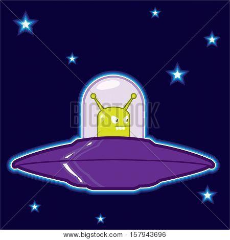 Green alien in a saucer vector cartoon illustration clip-art