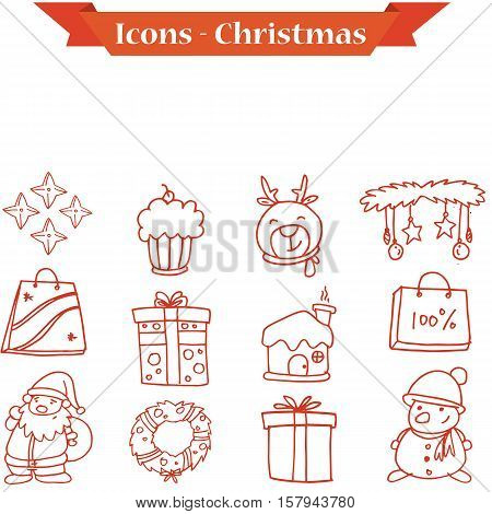 Christmas icons set collection stock vector illustration