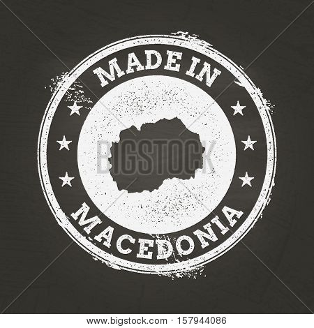 White Chalk Texture Made In Stamp With Former Yugoslav Republic Of Macedonia Map On A School Blackbo