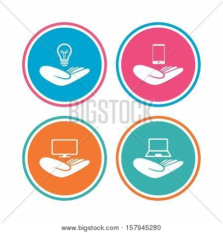 Helping hands icons. Intellectual property insurance symbol. Smartphone, TV monitor and pc notebook sign. Device protection. Colored circle buttons. Vector