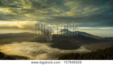 the very beautiful volcanic mountain view in the morning of mount Bromo in Indonesia.