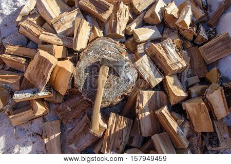 firewood, chopped with an ax, drya stove poster