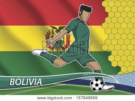 Vector illustration of football player shooting on goal. Soccer team player in uniform with state national flag of bolivia.