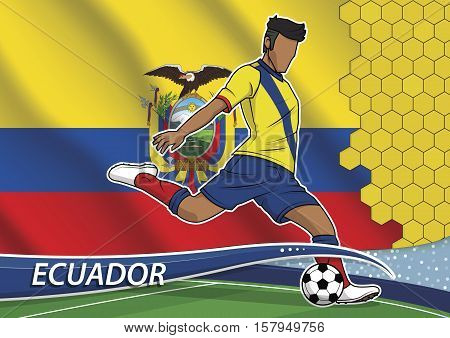 Vector illustration of football player shooting on goal. Soccer team player in uniform with state national flag of ecuador.