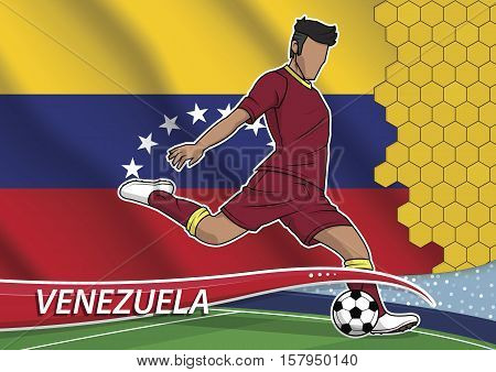 Vector illustration of football player shooting on goal. Soccer team player in uniform with state national flag of venezuela.
