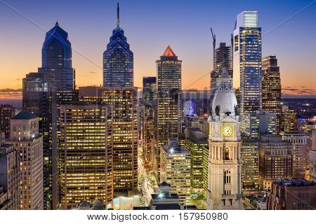 Philadelphia, Pennsylvania, USA downtown skyline.