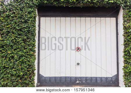 Garage door with ivy creepers growing flora over entrance  walls.