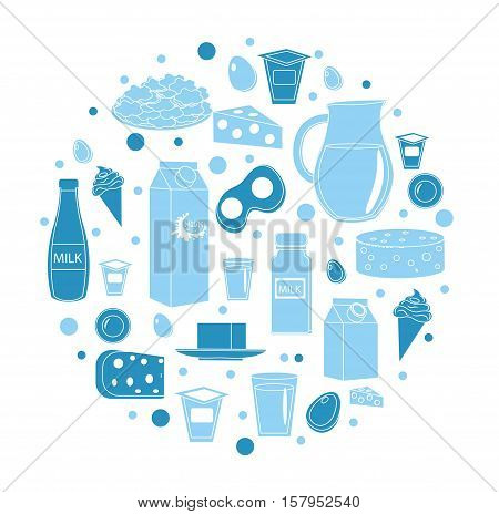 Dairy products icon set in round shape. Flat style. Dairy products isolated on white background. Milk and Cheese collection. Farm foods. Vector illustration
