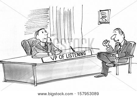 Black and white business illustration of a worker confiding in the VP of Listening.