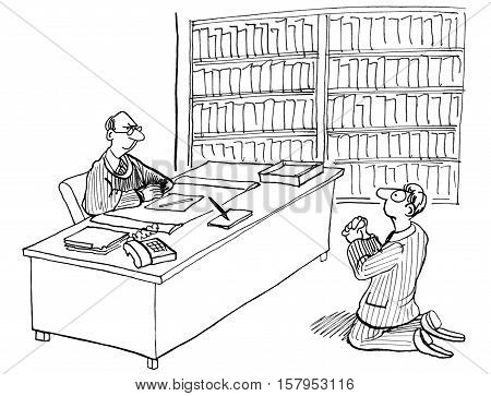 Legal illustration showing a lawyer begging in front of the judge.