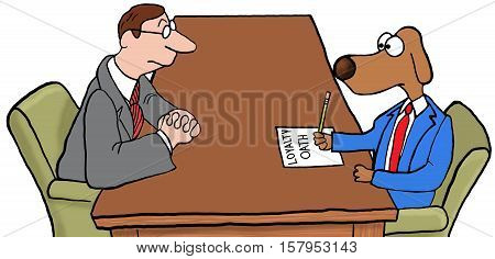 Color business illustration of a new hire signing a loyalty oath.