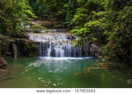 Erawan Waterfall in Kanchanaburi Province of Thailand