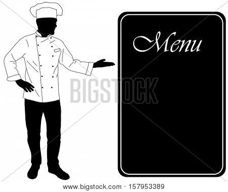 kitchen chef offers dinning menu silhouette - vector