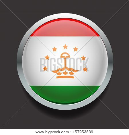 Vector glass round flag of the country Tajikistan