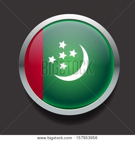 Vector glass round flag of the country Turkmenistan