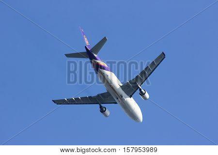 CHIANGMAI THAILAND- FEBRUARY 19 2014: HS-TAT Airbus A300-600R of Thaiairway. Take off from Chiangmai airport to Bangkok Suvarnabhumi. thailand.