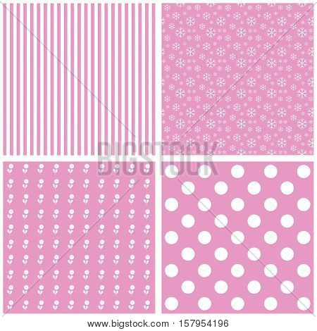 Cute different vector patterns. Pink and white colors.