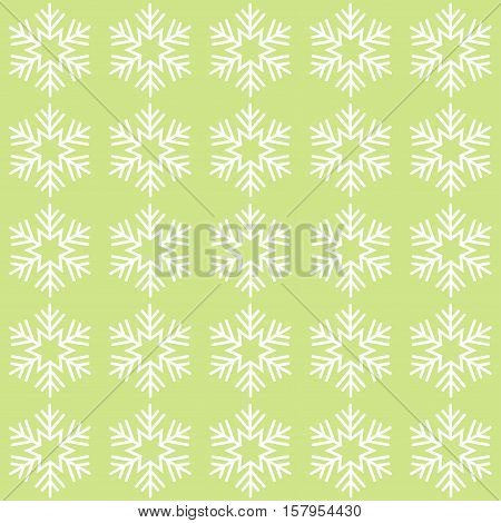 Green and white seamless snowflake pattern. Vector image.