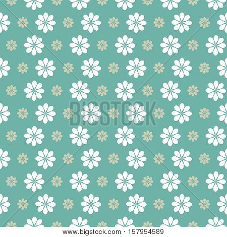 floral green pattern white flowers on green background.