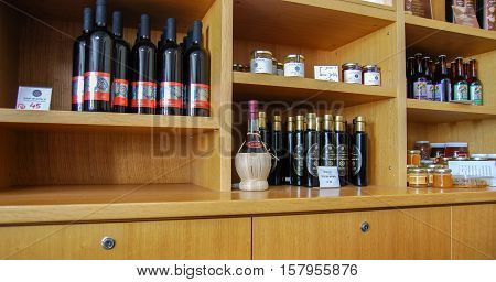 GUSH ETZION, ISRAEL - JANUARY 19, 2011: The wine, liquors and jam on the shelves at israeli winery