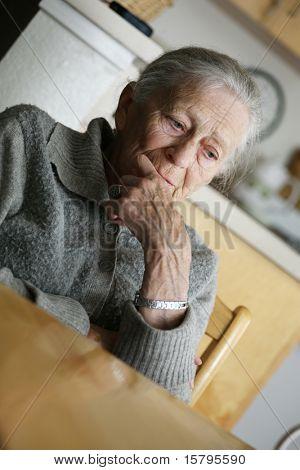 Portrait of a senior woman thinking.