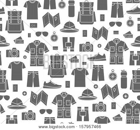 Safari Endless background. Vector icons set of safari planning a summer vacation tourism and journey objects and passenger luggage.