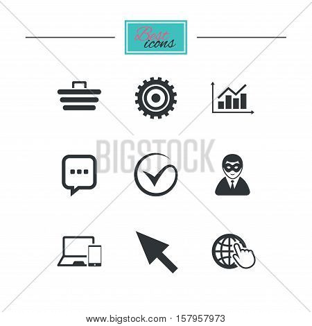 Internet, seo icons. Tick, online shopping and chart signs. Anonymous user, mobile devices and chat symbols. Black flat icons. Classic design. Vector