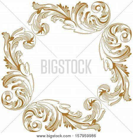 Golden vintage ornament,  border ornament,  frame ornament, engraving ornament, pattern ornament, antique baroque ornament, leaves ornament, decorative ornament. Vector.