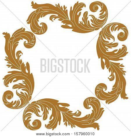 Golden vintage ornament,  border ornament,  frame ornament, engraving ornament, pattern ornament, antique baroque ornament, leaves ornament, decorative ornament. Vector.